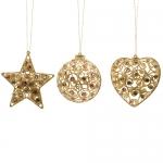 Декор Звезда/Сердце/Шар золотые со стразами d10см 3 в ассорт