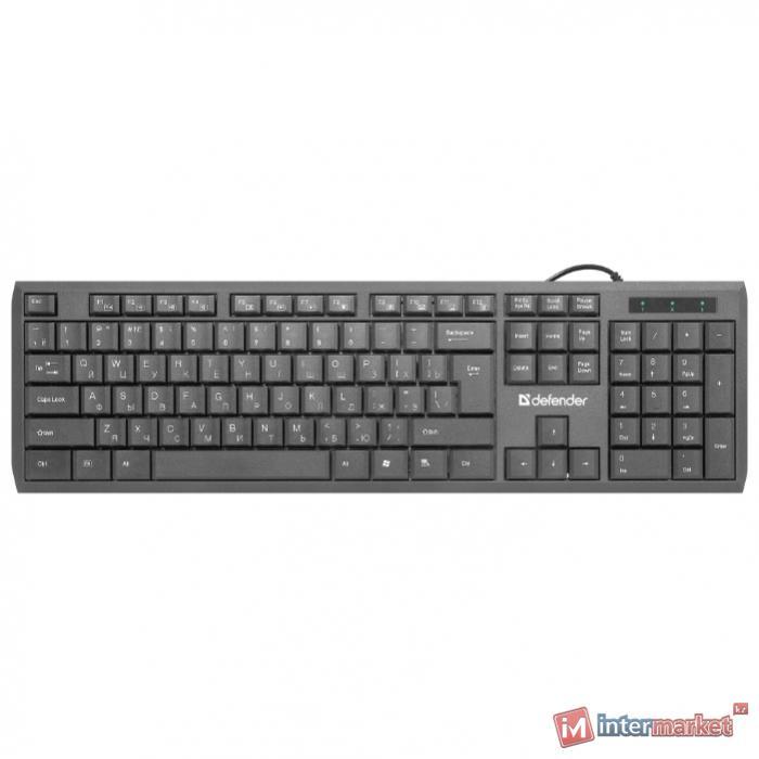 Клавиатура проводная Defender OfficeMate SM-820, (Черный), USB, ENG/RUS, полноразмерная, НОВИНКА!